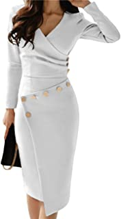 Women's Deep V Neck Casual Work Bodycon Cocktail Party...