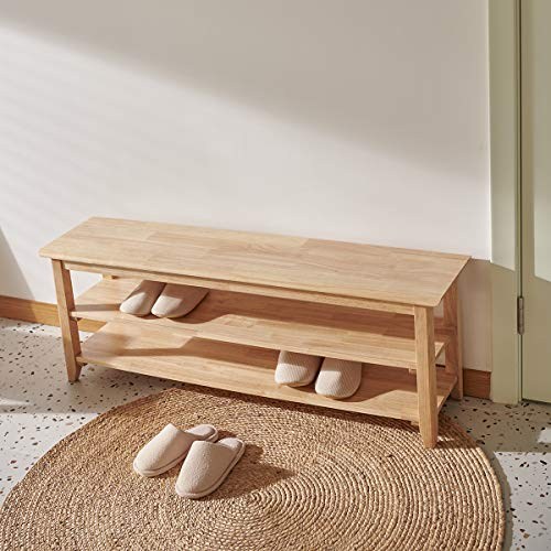 ACRO Storage Bench Wooden Shoe Bench Simple Style Wood Entryway Bench Shoe Rack (Natural,47.2