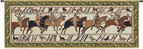 Bayeux Tapestry Historic Masterwork of Norman Conquest of England | Woven Tapestry Wall Art Hanging | Historic Artwork with Border | 100% Cotton USA Size 76x27