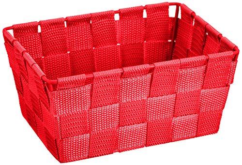 WENKO Aufbewahrungskorb Adria Mini Rot - Badkorb, rechteckig, Kunststoff-Geflecht, Polypropylen, 19 x 9 x 14 cm, Rot