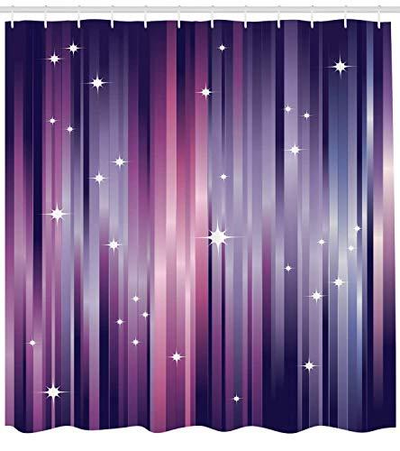 Aubergine Duschvorhang, abstrakt, Bunte Balken, Hintergr& mit weißen Sternen, Space inspiriert, lila Linien, Stoff, Badezimmerdekoration, Set mit Haken, 180 cm, violett