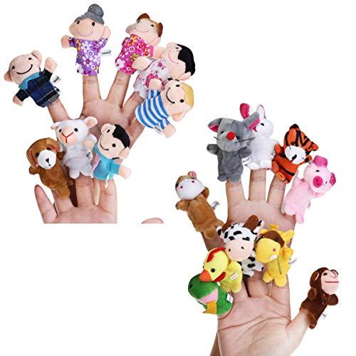 STOBOK 18 Piezas de Marionetas de Dedo de Tela Set 12 Animales 6 Personas Muñecas Marionetas de Mano Granja Accesorios Educativos Juguetes para Niños Niños