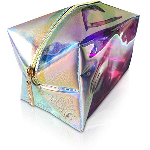 Guzily Holographic Makeup Cosmetic Bag with Shiny Sparkling Glitter, Water Resistant Neon Material, Smooth Shiny Gold Finish Zipper, Unicorn Rainbow Pencil Pouch, Large Holo Glitter Makeup Bag (Blue)