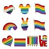 CTGVH Broche de arco iris para mujer, 10 piezas, broche decorativo con múltiples formas para trajes, corbatas, mochilas, abrigos, vestidos, suéteres, bufandas, mujeres y niñas