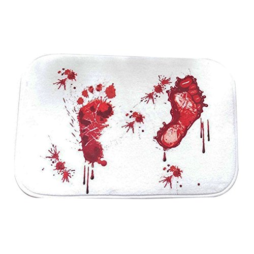 bjduck99 Bloody Footprint Non-Slip Bath Mat Rug Halloween Decoration 15.75 x 23.62 inch