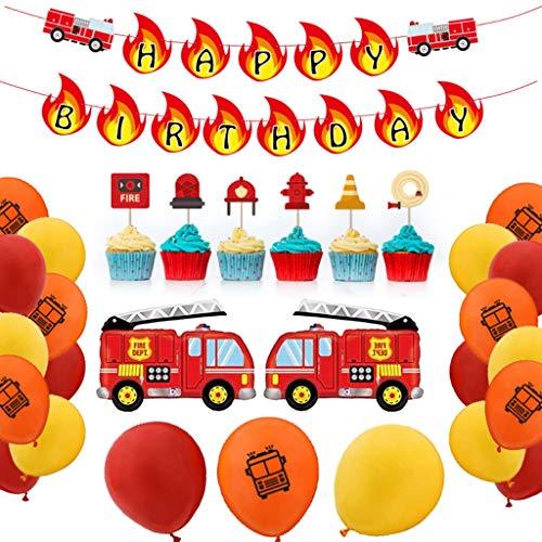 DreamJing 48 Stück Auto Kindergeburtstag Feuerwehrauto Thema Deko, Luftballons mit Feuerwehr/Firetruck Car, Cupcake Topper -Jungen Favors Dekor, für Babyshower, Kindergeburtstag