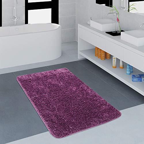 Paco Home Badezimmer Teppich Einfarbig Kuschelig Gemütlich In Versch. Größen u. Farben, Grösse:80x150 cm, Farbe:Lila