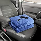 Audew Heated Car Blanket, 12V/24V Breathable Flannel Material Electric Car Blanket , Soft and Comfortable, Great for Car, Truck & RV (Color:Dark Blue)