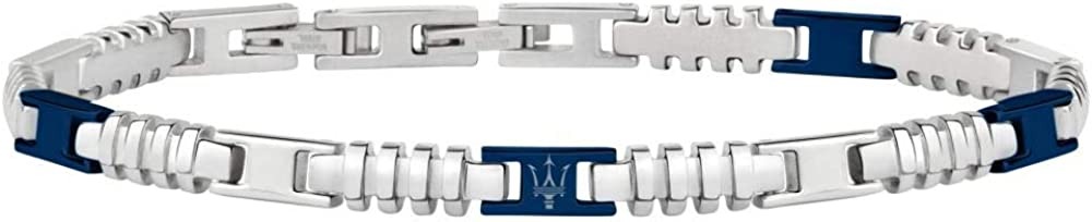 Maserati collezione jewels bracciale da uomo in acciaio e pvd blu, con chiusura a pressione JM418ANJ06