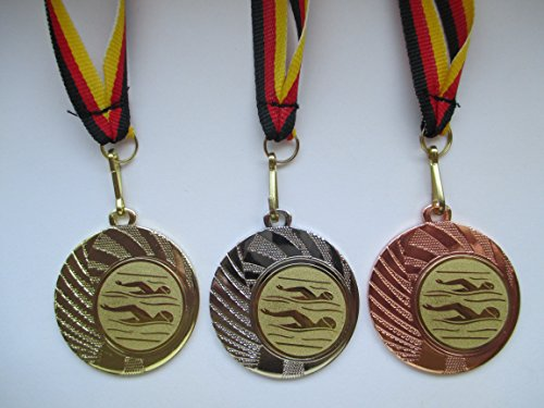 Fanshop Lünen Medaillen Set - aus Stahl 40mm, Schwimmen - Schwimmensport - Gold, Silber, Bronze - mit Emblem 25mm, (Gold) - mit Medaillen-Band - (e262) -