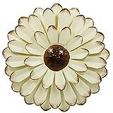 Zcaukya - Decoración de pared (metal, 33 cm), diseño de flores, color beige