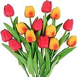 YYHMKB 14 Piezas de Tulipanes de Flores Artificiales, Ramo Decorativo de Tulipanes Falsos para el hogar, jardín, Boda, Fiesta, Interior, Exterior, decoración, Puesta de Sol y Rojo
