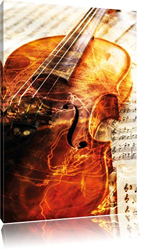 Geige, Format: 80x60 auf Leinwand, XXL riesige Bilder fertig gerahmt mit Keilrahmen, Kunstdruck auf Wandbild mit Rahmen, günstiger als Gemälde oder Ölbild, kein Poster oder Plakat