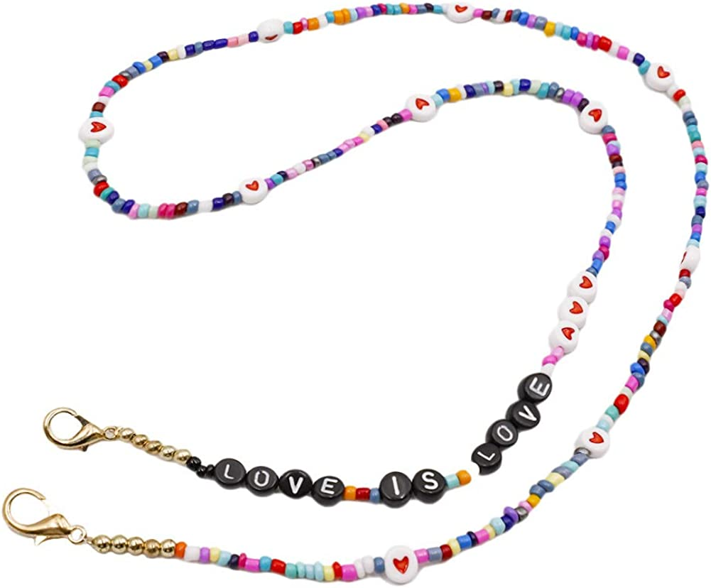 Beaded Eyeglass Max 53% OFF Chain with Clips Mask Lany Letter Super intense SALE Face Colorful