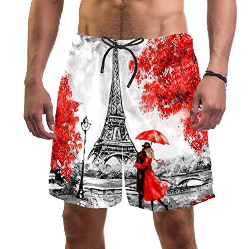 Paris Europäische Stadt Landschaft Frankreich Eiffelturm Paar roter Regenschirm auf der Straße Ölgemälde Badehose elastisch Badeanzug Board Beach Shorts für Herren, L Gr. XXL, multi
