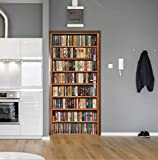 BVCK 77X200Cm 3D Casa De Libro De Simulación 3D por Pegatina para Sala De Estar Dormitorio DIY PVC Papel Autoadhesivo Decoración para El Hogar Etiqueta Mural Impermeable