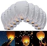 JRing Farolillos Voladores, 10 Piezas Linternas de Papel de Vuelo Chino Lámparas de Velas de la Vela Para la Navidad, víspera de Año Nuevo, fFesta del Deseo y Bodas/Blanco