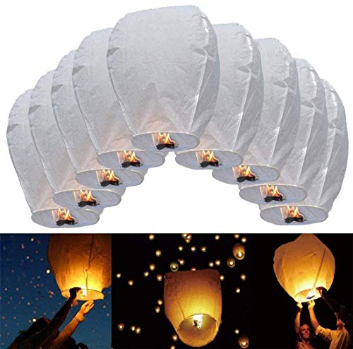 JRing 10Pcs Lanternes Volantes Chinoises en Papier Fly Candle Lamps for Christmas, New Years Eve, Wish Party & Weddings/Blanc