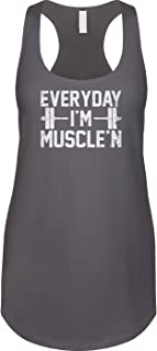 1cdc14457677a Blittzen Womens Racerback Tank Everyday Im Muscle n - Parody Funny