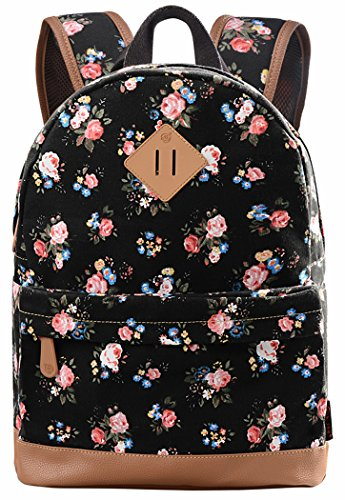 School Bookbags for Girls, Floral Backpack College Bags Women Daypack by Veenajo
