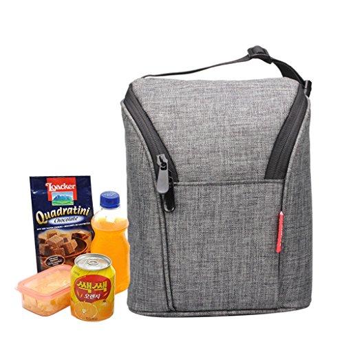 WHT Bolsas térmicas, Bolsas de Comida para niños Bolsas de Almuerzo más Frescas Boncheras Boncheras termicas Bolsas de Picnic Botalizador del Almuerzo (Gris)