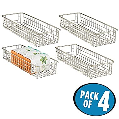 mDesign Wire Storage Basket for Kitchen, Pantry, Cabinet - Pack of 4, Satin