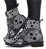 Damen Komfort Schnürstiefeletten, Damenmode Lederschuhe Totenkopf Biker Stiefel (Color : Grey1,...