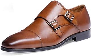 Kirabon Zapatos Mengke de Alta Gama Zapatos de Cuero con Hebilla de Alta Calidad Monje Zapatos para Hombres (Color : Marrón, Size : 42)