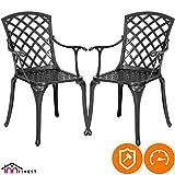2-Piece Patio Bistro Dining Chair Set - Cast Aluminum Lattice Weave Design - Ergonomic Rust Resistant - for Outdoor Furniture Patio Deck Garden - Optional Add-on Table for 5 or 7 Piece Set (Black)
