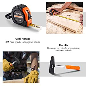 TACKLIFE Caja de Herramientas 56 Piezas, HHK3B Maletín de Herramientas Multiusos, Universal de Reparación Conjuntos Bricolaje para Casa