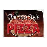 Diuangfoong シカゴスタイル ピザレストラン カフェ バー レストラン 食べ物 シカゴスタイル ピザ アウトドア ストア サイン ブラウン 12インチ x 18インチ