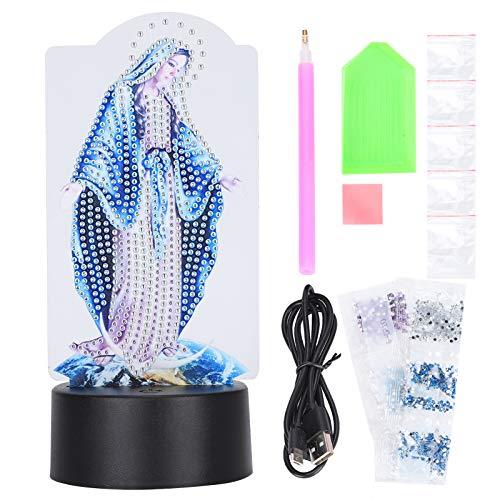 Ilusión 3D Lámpara LED Pintura de diamante Lámpara LED Acrílico DIY Luz nocturna Adornos de escritorio con USB para regalo de cumpleaños Decoración del hogar (DP10)