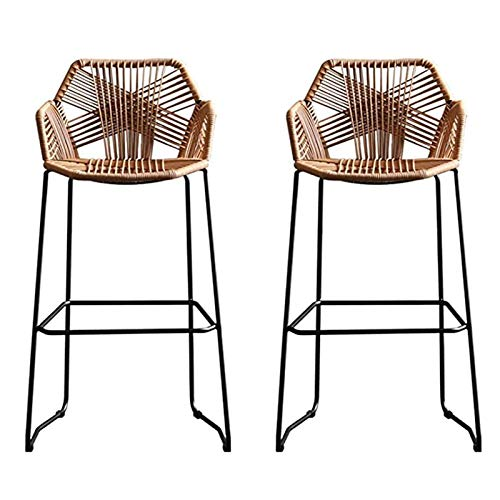 Beige Rattan Bar Stool Rattan Wicker Barstools Chair with Footrest & Back, Simple Style High Bar Stool with Black Metal Base, for Kitchen Pub Café Counter Home Back Rattan Dining Chair, A pair