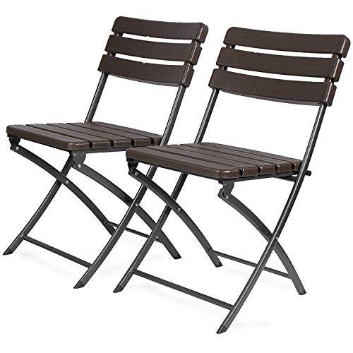 Park Alley Gartenstuhl in braun - klappbare Gartenstühle im 2er Set - hochwertige Klappsessel in Holzoptik - Hochlehner - pflegeleichter Klappstuhl