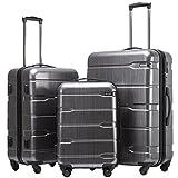 COOLIFE Koffer Reisekoffer Vergrößerbares Gepäck (Nur Großer Koffer Erweiterbar) PC + ABS Material mit TSA-Schloss und 4 Rollen(Silbergrau, Koffer-Set)