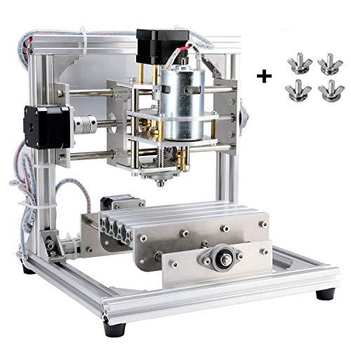 TopDirect CNC Router Machine, Working Area 130*100*40mm, DIY CNC Engraving Machine PCB Acrylic Wood Carving Milling Engraver Machine + 3pcs Mill Engraving Bits + 4pcs CNC Plates