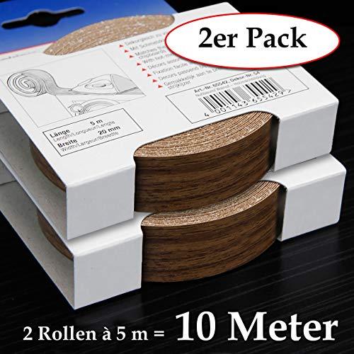 2-er Pack Melaminkantenumleimer in Nussbaum 20 mm x 5 m Rolle (2 Rollen = 10 Meter) Umleimer in Holz Dekor, glatt und strukturlos, Kantenumleimer inkl. Schmelzkleber für Regalböden und Möbelbauplatten