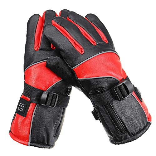 Guantes calefactores eléctricos guantes de invierno cálidos impermeables para motocicleta, para montar a caballo, ciclismo, pesca, esquí y senderismo (tamaño: tamaño libre; color: rojo)