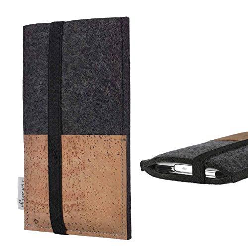 flat.design Handy Hülle Sintra für Energizer P20 Handytasche Filz Tasche Schutz Kartenfach Case Natur Kork