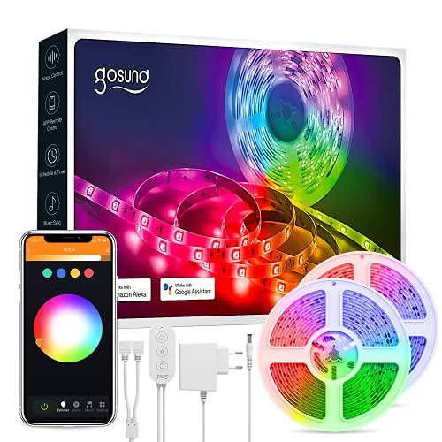 Tira Led Alexa,10M Luces Led Habitación Wifi USB Inteligente con Control por APP y Voz,Funciona con Alexa/Google Home, Ajustar 16 Millones Colores y Brillo,Luz Decoración para TV,Fiestas,Bares(5m*2)