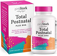 Pink Stork Total Postnatal + DHA: Support for Postpartum + Breastfeeding Vitamins, Nutrients for Mom + Baby, Prenatal Vitamins for After Baby, Women-Owned, 60 Vegetarian Capsules