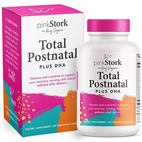 Pink Stork Total Postnatal + DHA: Support for Postpartum + Breastfeeding Vitamins, Nutrients for Mom + Baby, Prenatal Vitamins for After Baby, Women-Owned, 60 Capsules