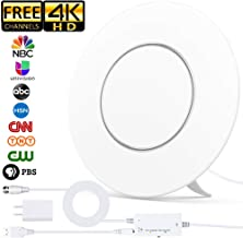 [2019 Newest] TV Antenna,Indoor Digital HDTV Antenna Amplified 150Miles Range Support 4K 1080P VHF UHF & Older TV's Digital Antenna with 17ft Coax Cable/USB Power Adapter (White)