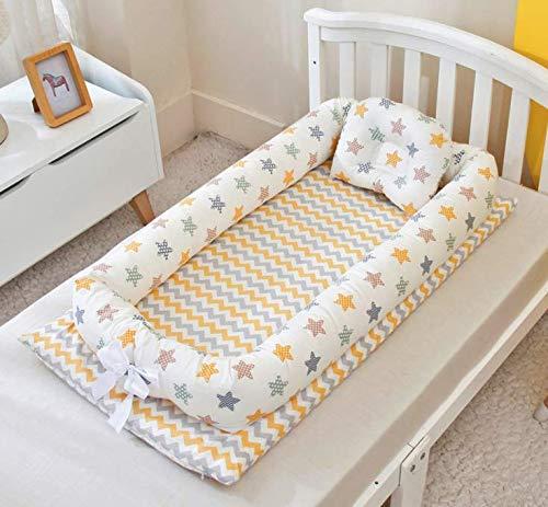 BB-23 ベッドインベッド(防水シーツ付き)枕付き 添い寝ベッド ベビー布団 ベビーベッド ベッドガード (スター・イエロー)