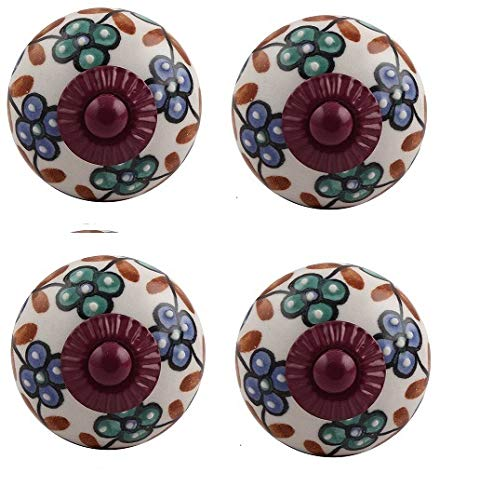 IndianShelf - Pomo para puerta (4 piezas, cerámica, multicolor, diseño floral, sin óxido, diseño vintage