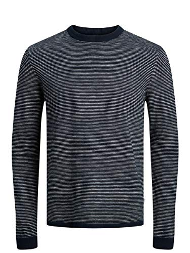 JACK & JONES Herren JJLUKE Knit Crew Neck Pullover, Navy Blazer/Fit:Knit, M