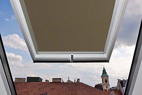 Für Velux Fenster GGU / GGL / GPU / GPL / GHU / GHL / GTU / GTL / GXU / GXL M06 Dachfensterrollo Thermo Rückseite, Verdunkelungsrollos in Hellbraun - 78x118cm (Breite x Länge) - mit seitlichen Führungsschienen aus Aluminium