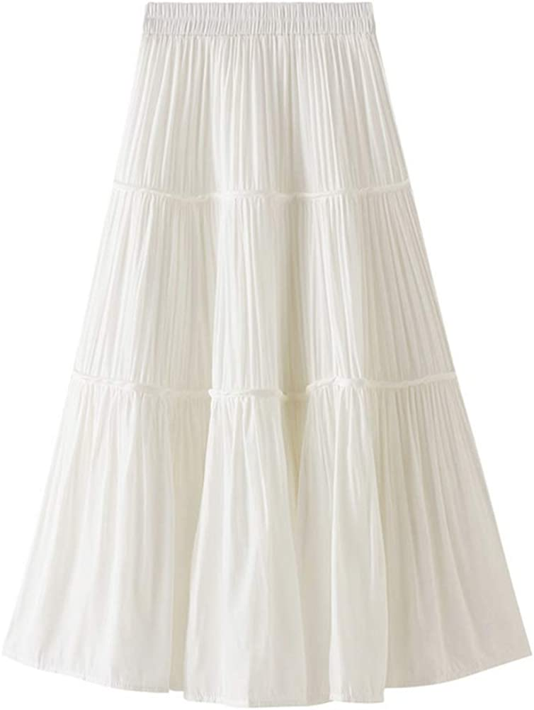 Women Casual Fashion Vintage White Pleated Midi Skirt with Elastic Waist