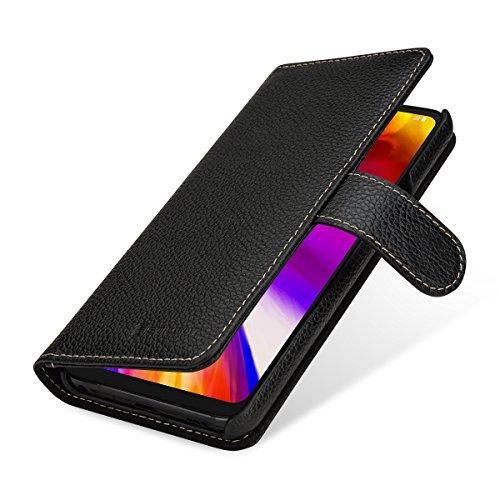 StilGut Talis Lederhülle für LG G7 ThinQ mit Kreditkarten-Fächern aus echtem Leder. Seitlich aufklappbares Flip Hülle in Brieftaschen-Format, Schwarz