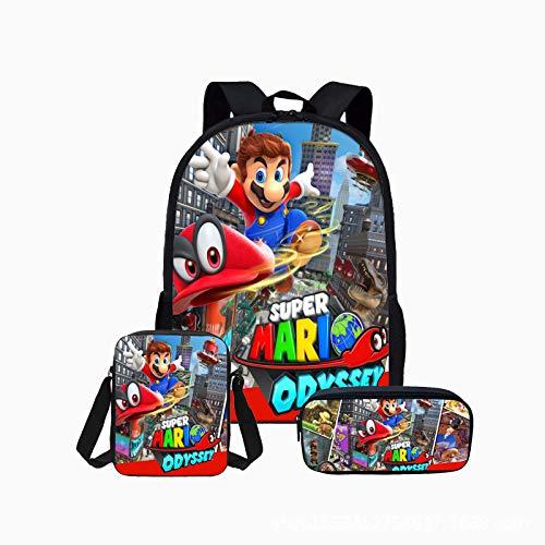 LIANGJI Mario Schulranzen Art Jungen Super Mario Student Große Kapazität Schultasche Dreiteilige 15 Zoll Computer Rucksack Kombination